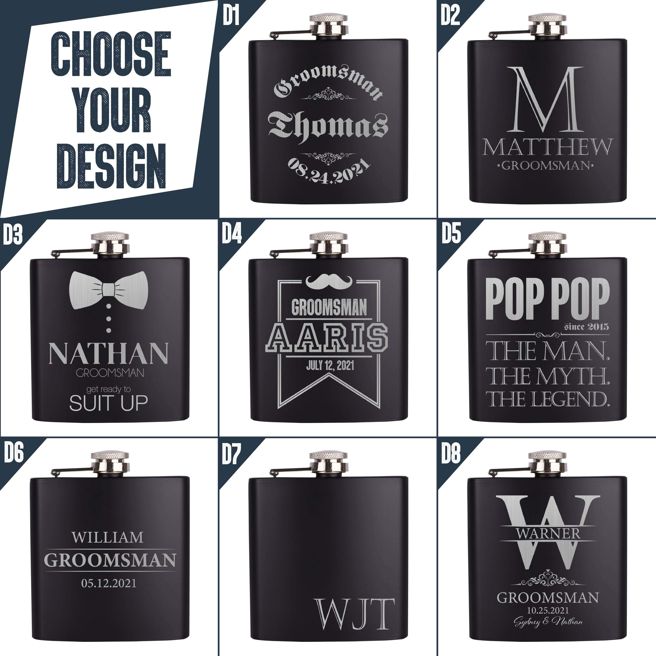 Personalizedgiftland Personalized Flask, Set Of 6 - Customized Flask Groomsmen Gifts For Wedding Favors, Personalized Groomsman gift - Stainless Steel Engraves Flasks w Gift Box Options - 6oz, Black by PersonalizedGiftLand (Image #3)