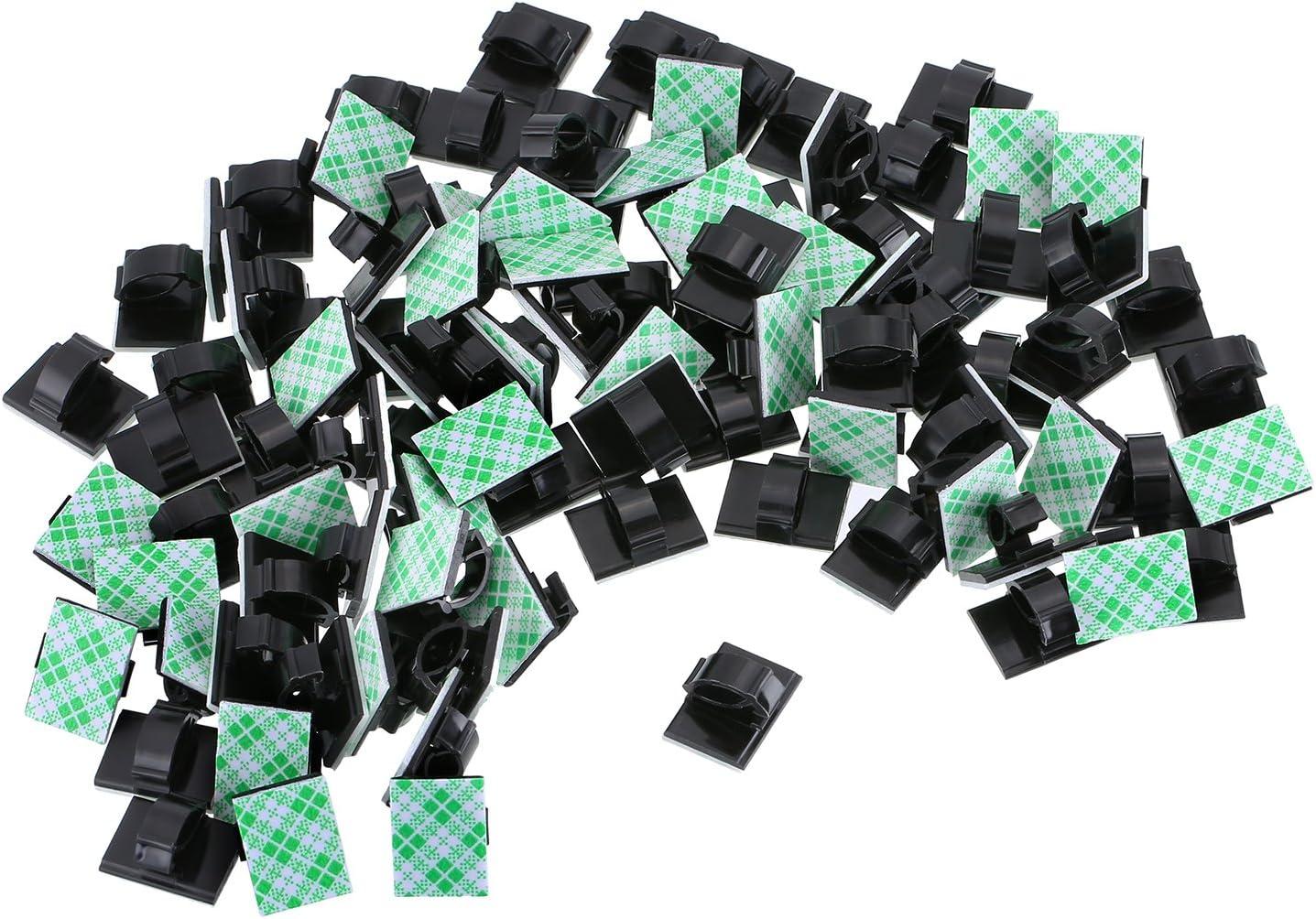 100 Paquetes Clips de Cable Autoadhesivo Multiusos Sujeta de Abrazaderas de Cable Sistema de Administración de Cable para Cables Desordenados en Hogar, Oficina y Coche