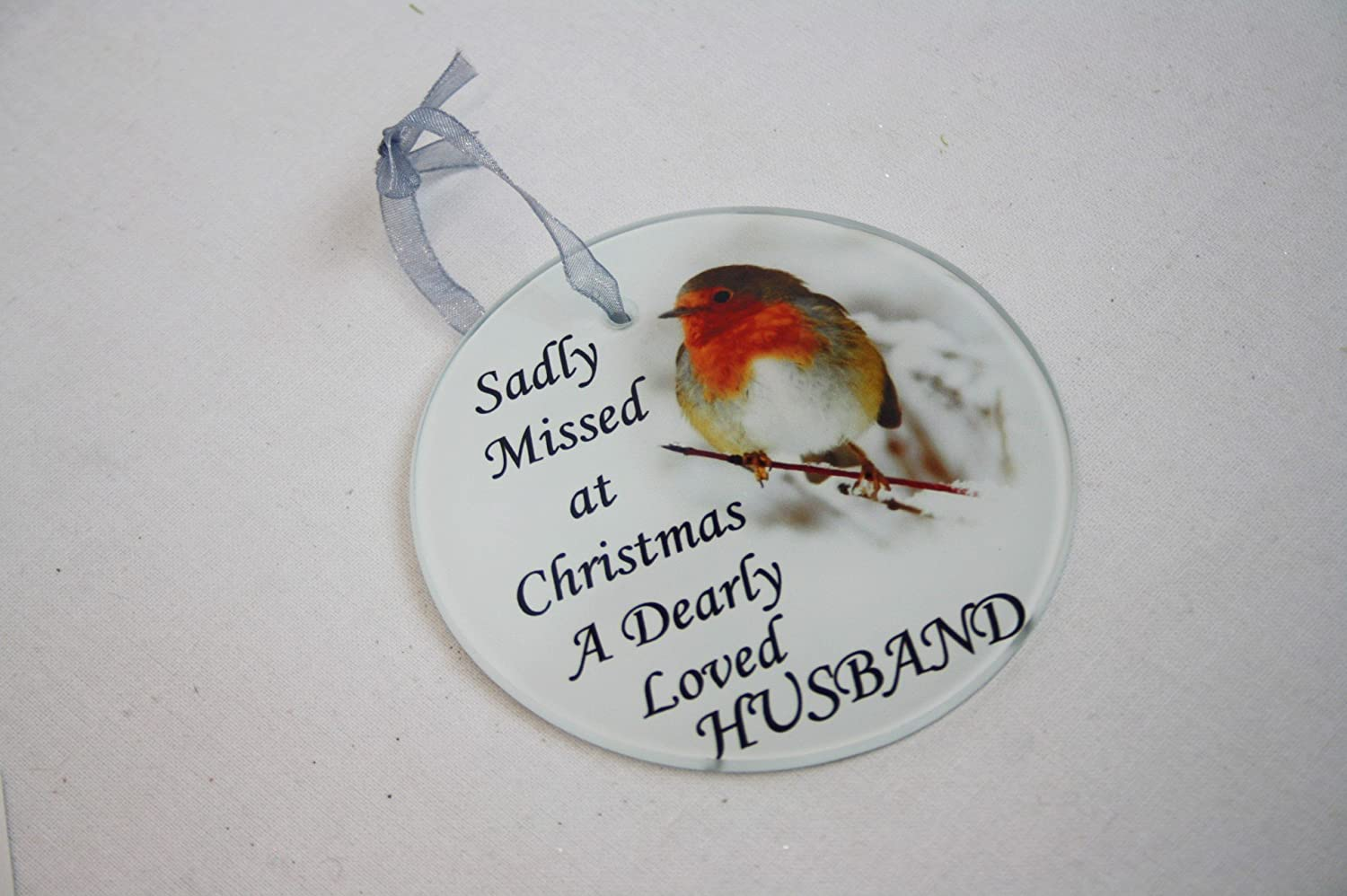 David Fischhoff Robin Christmas Tree Hanging Glass Memorial Ornament - Choice of Relative (Brother)