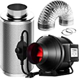 VIVOSUN 4 Inch 190 CFM Inline Fan with Speed Controller, 4 Inch Carbon Filter and 8 Feet of Ducting for Grow Tent…