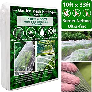 Garden Netting, Plant Covers 10x33 Ft Ultra Fine Mesh Protection Netting for Vegetable Plants Fruits Flowers Crops Greenhouse Row Cover Raised Bed Barrier Screen Birds Animals Protection Net Cover