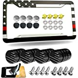 Aootf American Flag License Plate Frame- USA Patriotic Car Tag Cover with Black/Chrome Screws Caps, 4 Hole Novelty Thin Red L