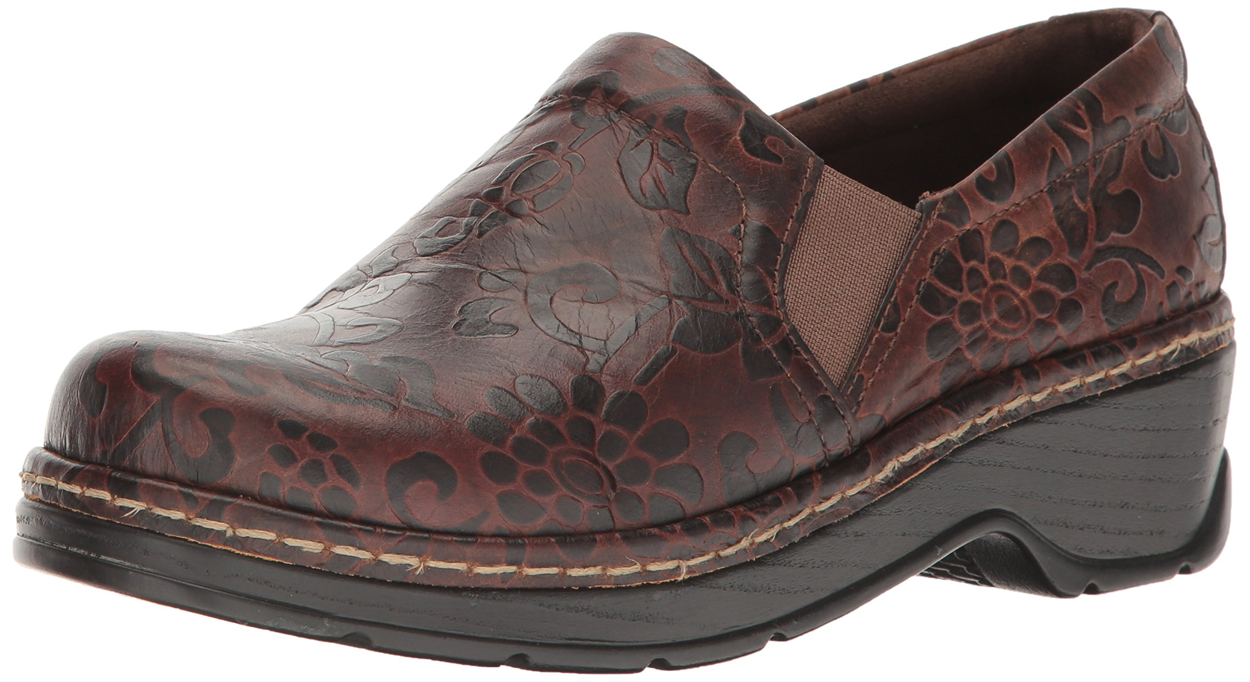 Klogs Unisex Naples Brown Flower Tooled Shoes - 8 M (C)