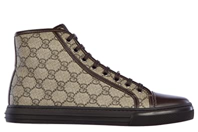 5367318488a Gucci Men s Shoes high top Leather Trainers Sneakers gg Supreme Nappa  Moorea Brown UK Size 8.5