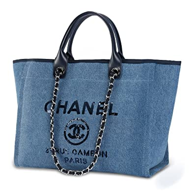 42313edbf5b8 Classic women Handbag トートバッグ 2Way キャンバス 大容量 通勤 バッグ 金具シルバー ショルダーバッグ 人気