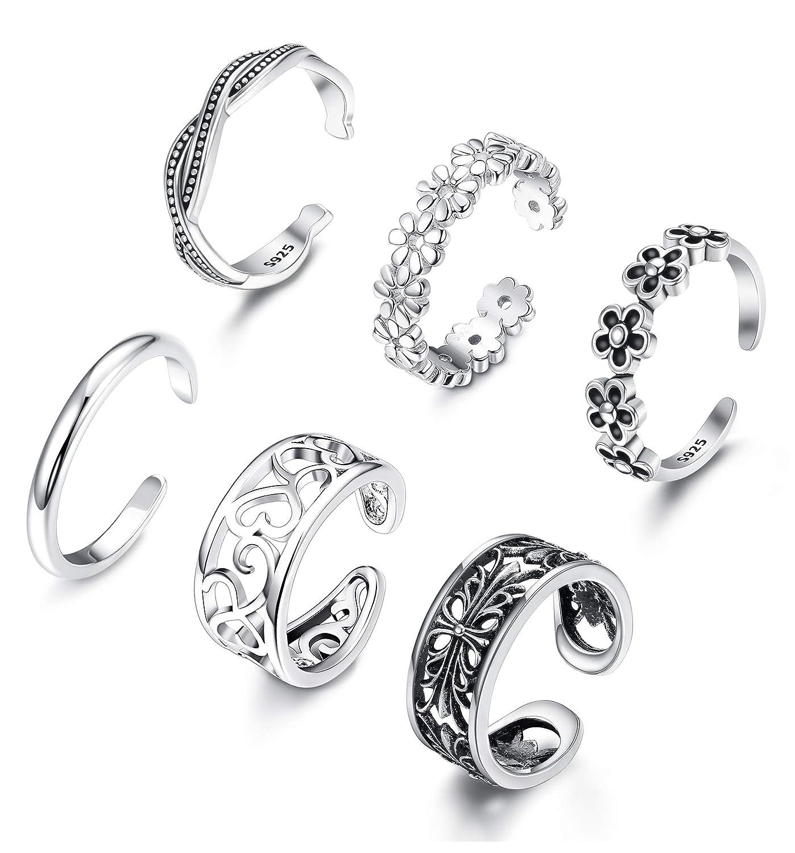 BESTEEL 6Pieces Ouvert Toe Ring Knuckle Ring pour Femmes Filles Fleur de Marguerite Vague Kink Bague R/églable Bijoux de Pied Set