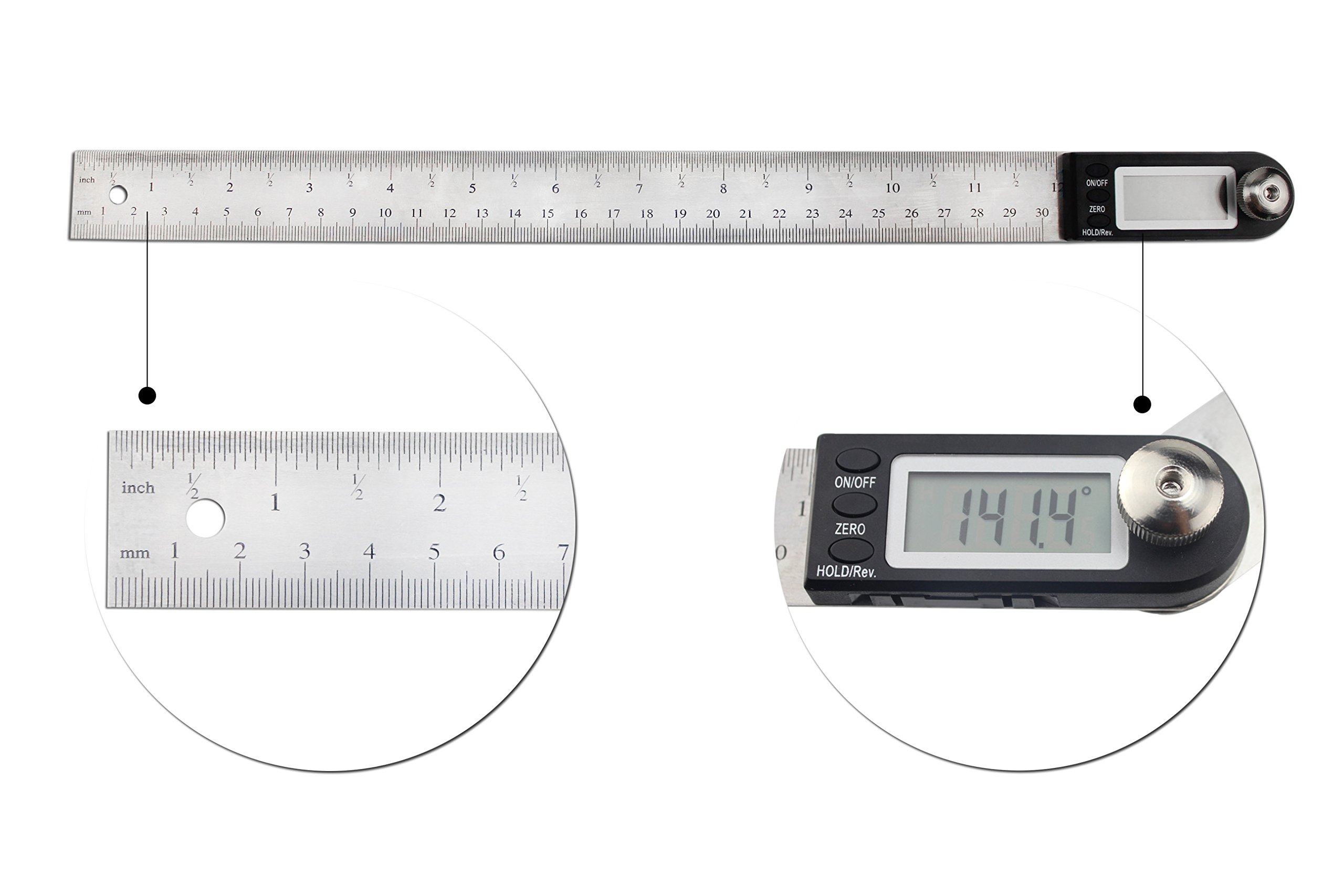 Angle Finder Electronic Protractor, STARRICH Digital Goniometer Miter Gauge Ruler (12inch/300mm)