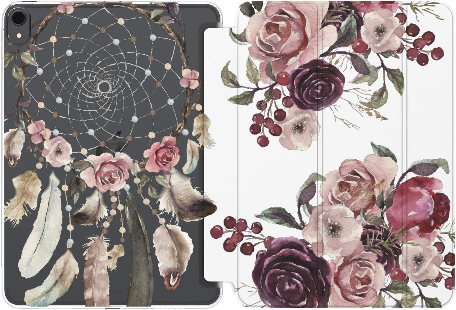 Cavka Case for Apple iPad Air 4th 2020 Gen 3th 10.2 12.9 Pro 11 10.5 9.7 Mini 5 4 3 2 1 Boho Magnetic Closure Purple Flowers Pink Dreamcatcher Girls Smart Cover Feather Lightweight Roses Floral