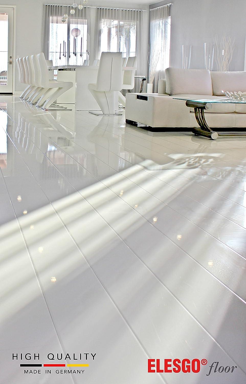 ELESGO Super Gloss Laminate Floor Arctic White 20.66 sq.f.