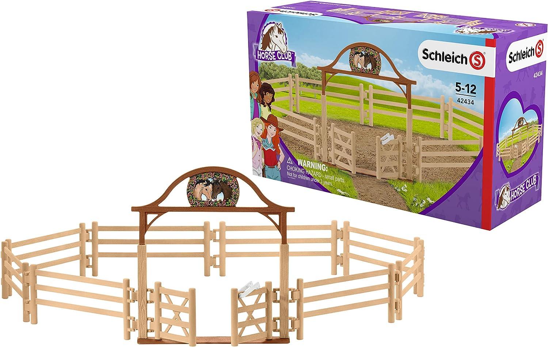 Schleich- Colección Horse Club Figura de Dehesa para Caballos con Puerta de Entrada, 19 cm (42434)