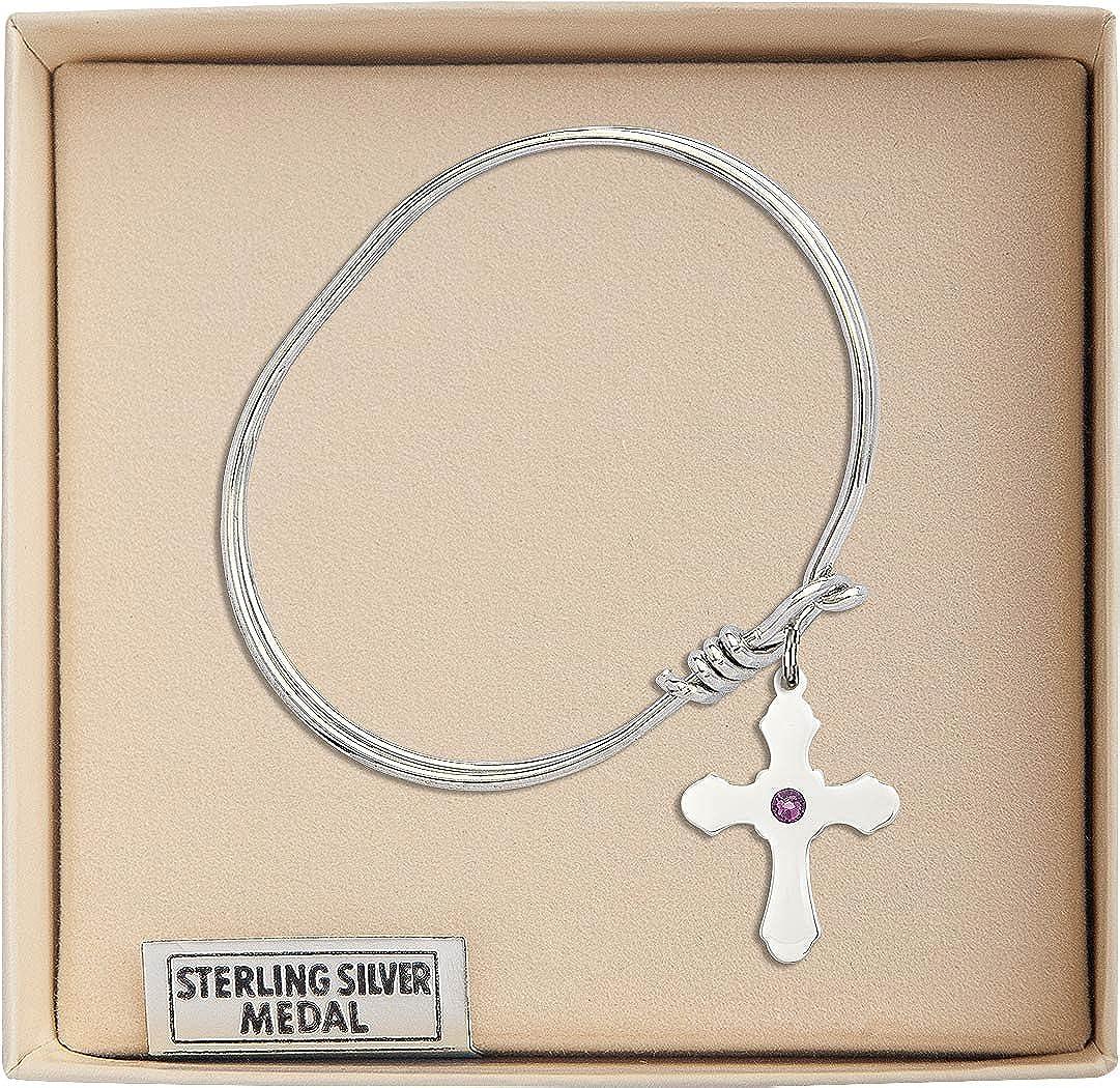 Cross Charm On A Child Sized 5 3//4 Inch Oval Eye Hook Bangle Bracelet