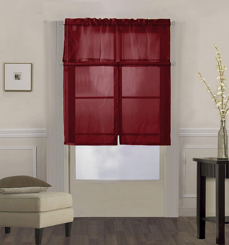 "Decotex 3 Piece Solid Sheer Voile Kitchen Window Curtain Tier & Valance Set (36"" Tiers with 18"" Straight Valance, Burgundy)"