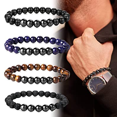 7bcef270698ba Image Unavailable. Image not available for. Color  FIBO STEEL 4 Pcs  Hematite Tiger Eye Lava Rock Lapis Lazuli Beads Bracelet for Men Women