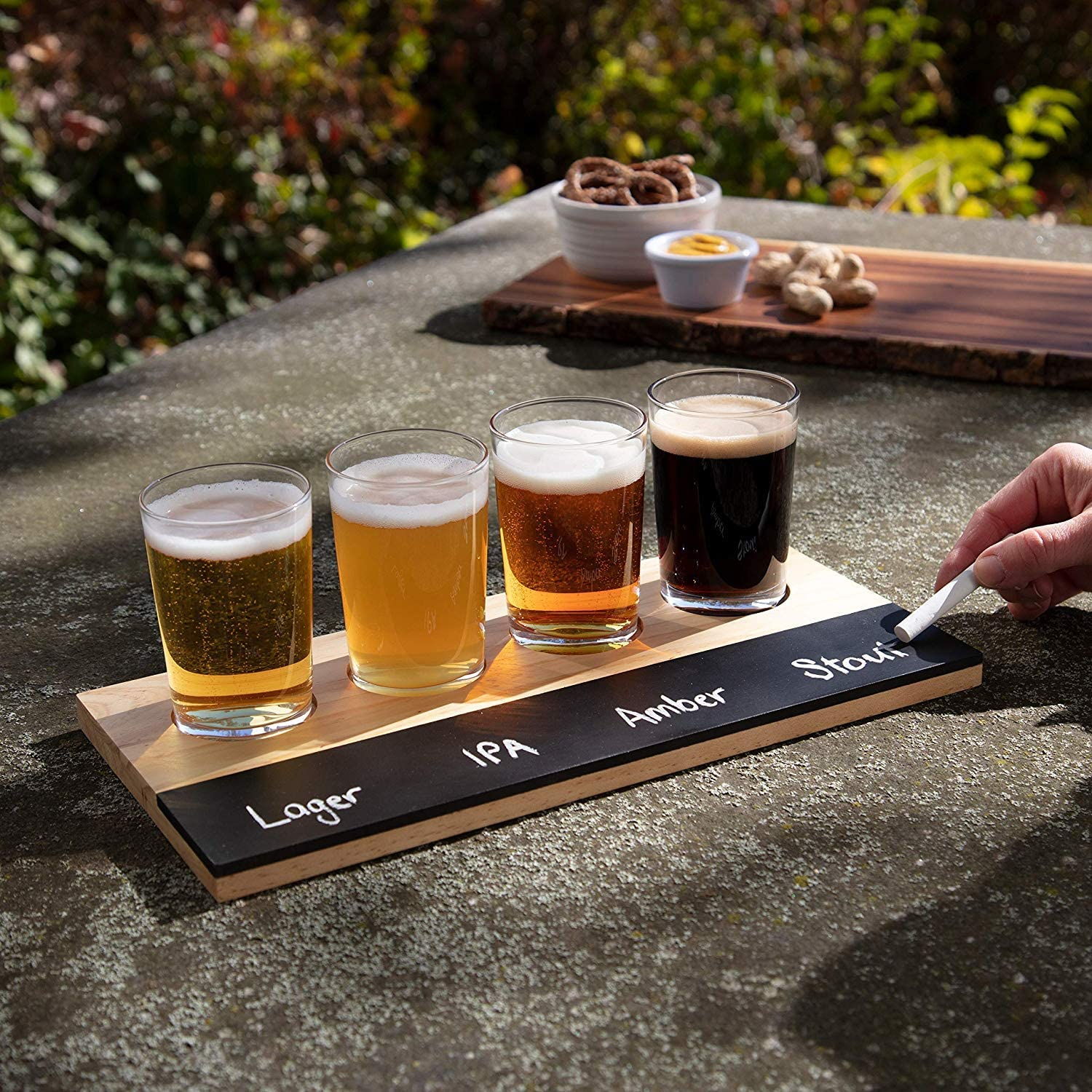 Beer Tasting Flight Sampler Set, 4 - 6oz Pilsner Craft Brew Glasses w Paddle and Chalkboard - Great Holiday Gift