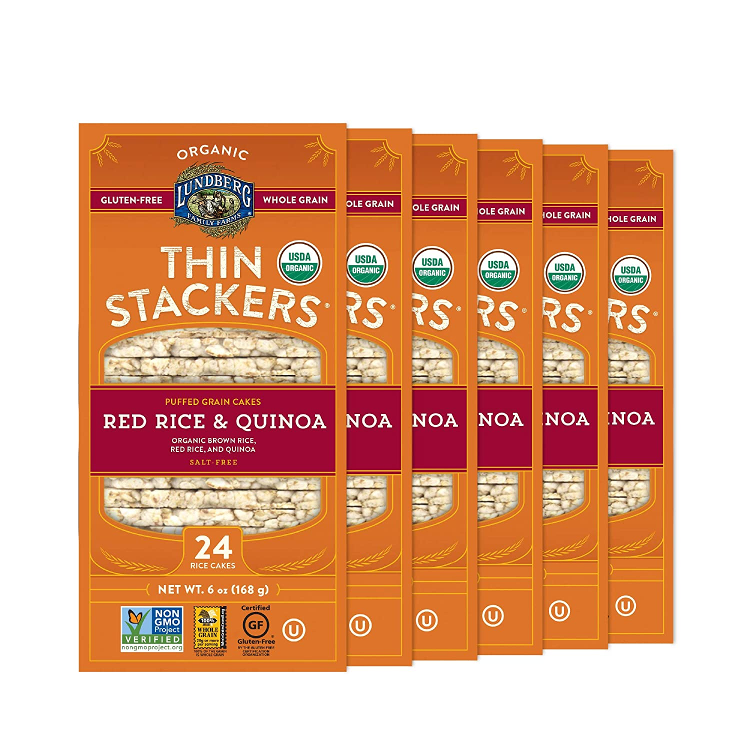 Lundberg Organic Thin Stackers, Whole Grain Brown Rice, Red Rice & Quinoa, 6 Ounce (Pack of 6), 36 Ounce