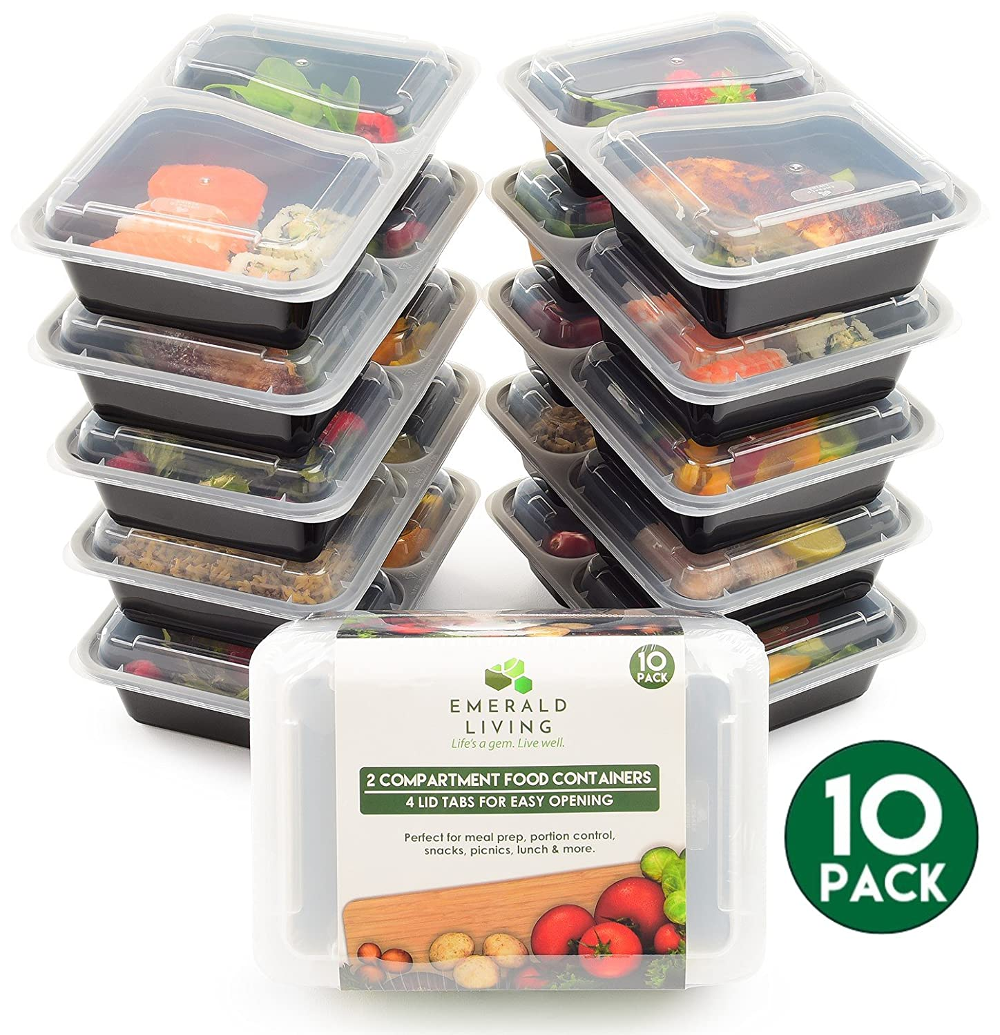 Emerald Living Premium 2 Compartment Meal Prep Container Set. 10 Pack of BPA Free Plastic Food Containers with Lids. Food Prep Boxes with Bonus Ebook Included. 0.8L