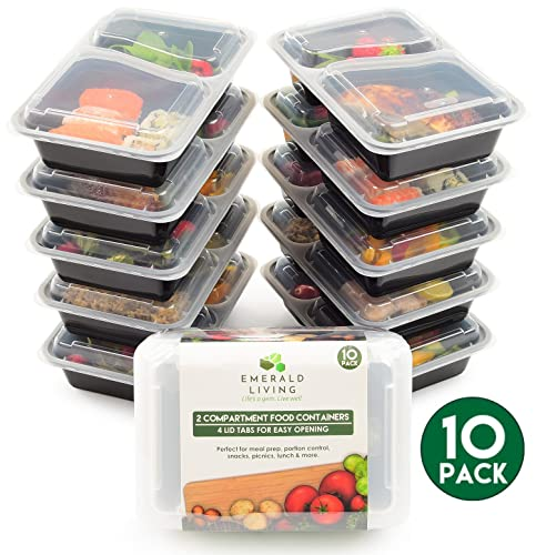 Premium 2 Compartment BPA Free Meal Prep Containers. Reusable Plastic Food Containers with Lids. Stackable, Microwavable, Freezer & Dishwasher Safe. Bento Lunch Box Set + EBook [800mL]