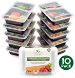 [10 pack] 2 Compartment BPA Free Meal Prep Containers. Reusable Plastic Food Containers with Lids. Stackable, Microwavable, Freezer & Dishwasher Safe Bento Lunch Box Tupperware Set + EBook [800mL]