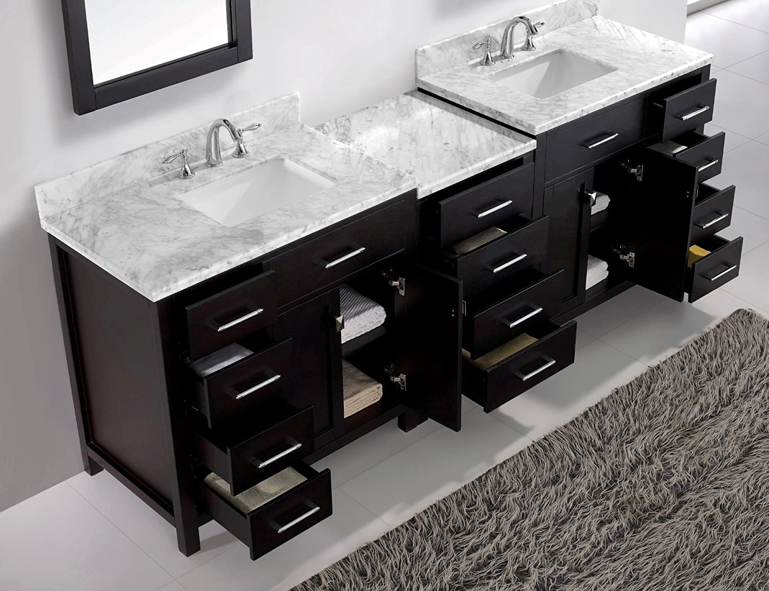 Virtu USA MD 2193 WMSQ ES 93 Inch Caroline Parkway Double Square Sink Bathroom  Vanity, Espresso     Amazon.com
