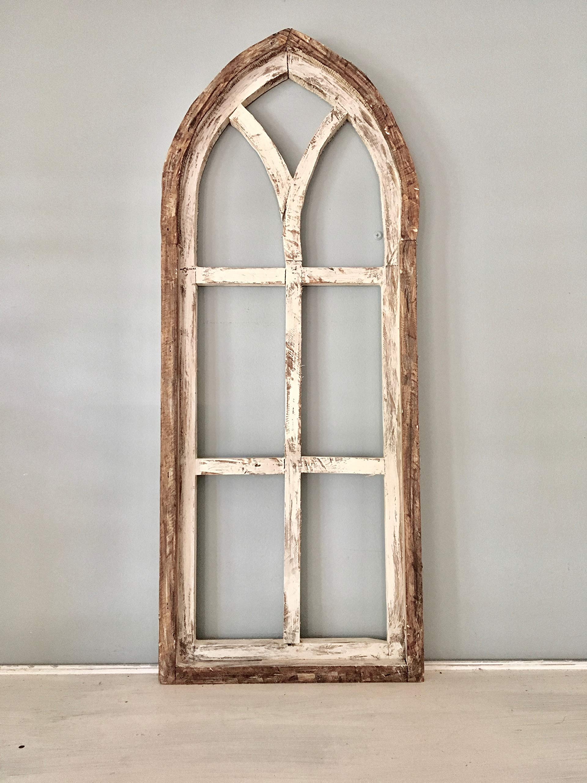 Cathedral Arch Window Frame, Farmhouse Cottage Decor, Cathedral Window Frame, Distressed Chippy Paint, Wall Decor, Farmhouse Wall, Window Frame by SMOOSH Knits