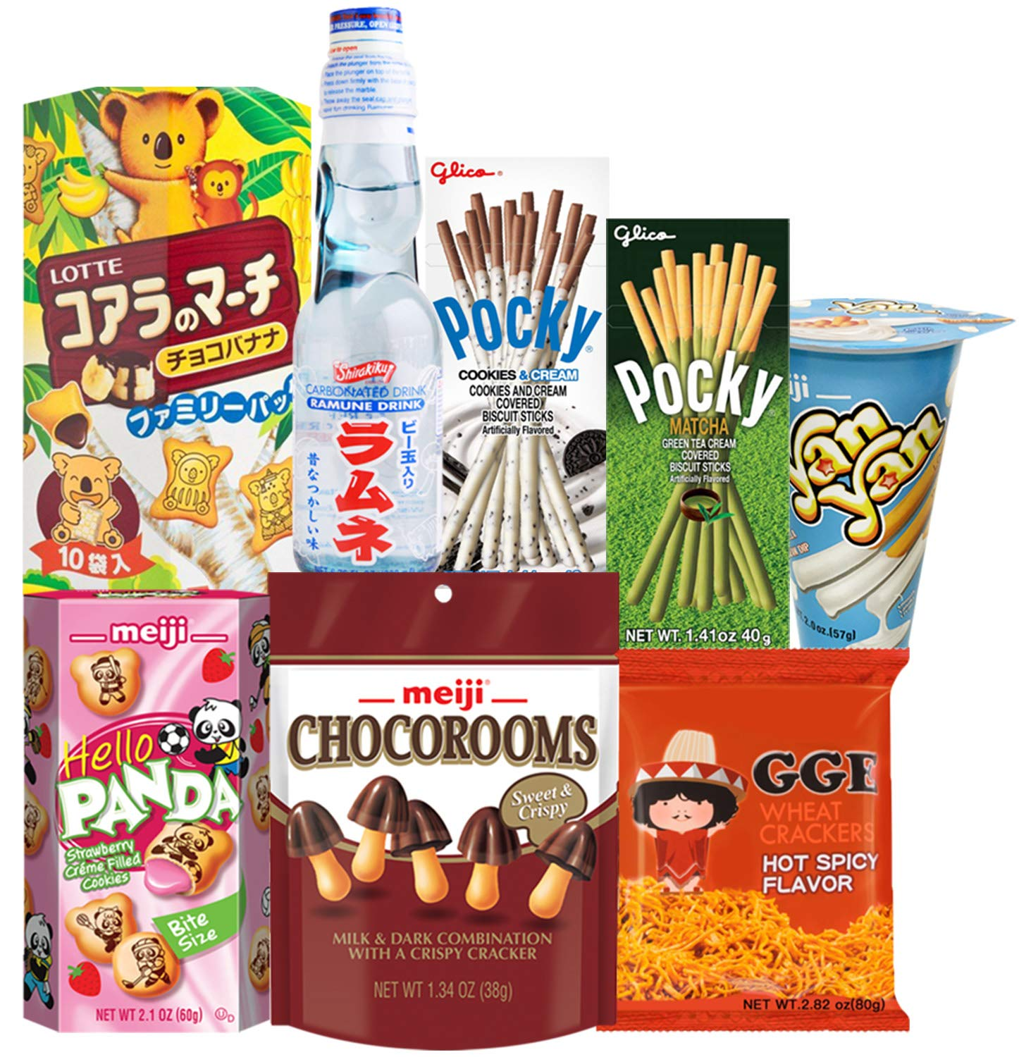 Japanese Snacks and Drink Care Package Snack Gift Box (8 Count) - Assortment of Pocky Sticks, Yan Yan, Hello Panda, Koala, GGE, Candy, Ramune Soda - Variety Pack Flavors