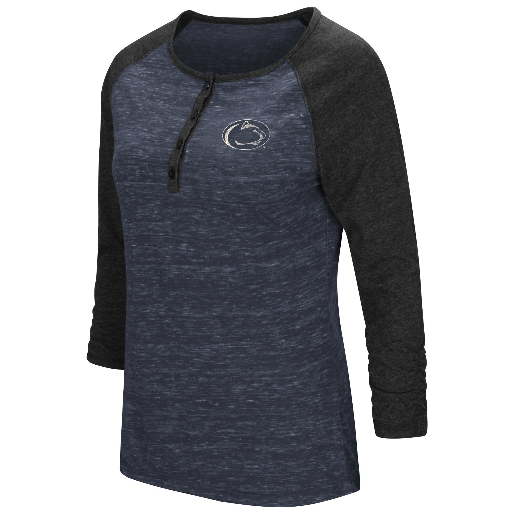 Colosseum Womens Slope Style 3/4 Sleeve Henley T-Shirt-Penn State Nittany Lions-Heather Navy-Large