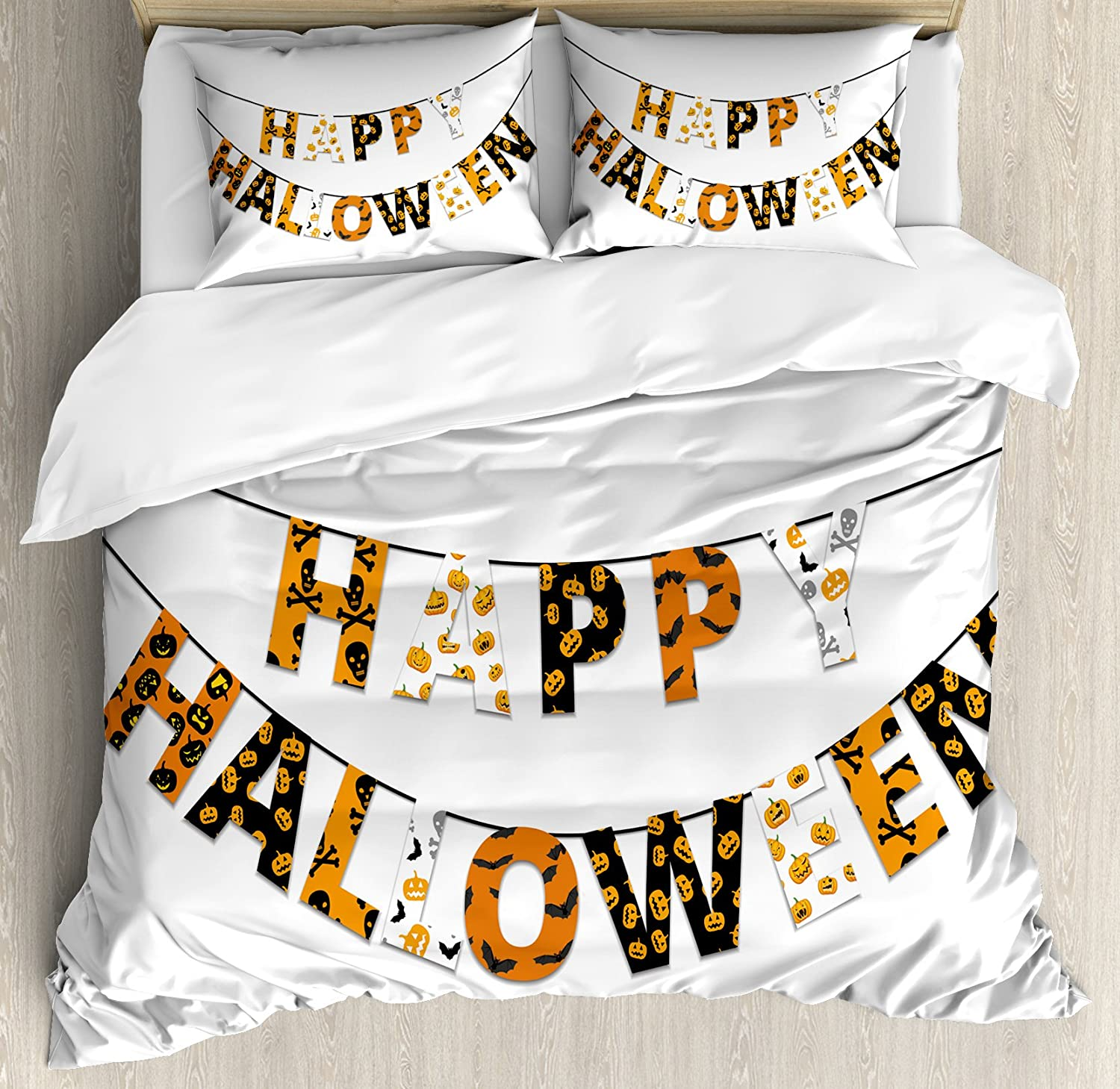 Halloween King Size Duvet Cover Set by Ambesonne, Happy Halloween Banner Greetings Pumpkins Skull Cross Bones Bats Pennant, Decorative 3 Piece Bedding Set with 2 Pillow Shams, Orange Black White