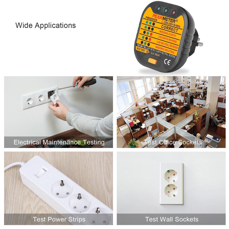 EletecPro Advanced Steckdosen-Tester für Leiter, Neutralleiter und ...