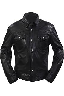 Infinity Mens Retro Trucker Denim Stil Slim Fit Langarm Beiläufige schwarze  Lederhemd Jeansjacke b14abd37a1