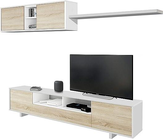 comprar Habitdesign 1F6682BO - Mueble de salón Moderno, modulos Comedor Belus, Medidas: 200 cm x 41 cm de Profundidad (Blanco Brillo - Roble Canadian)