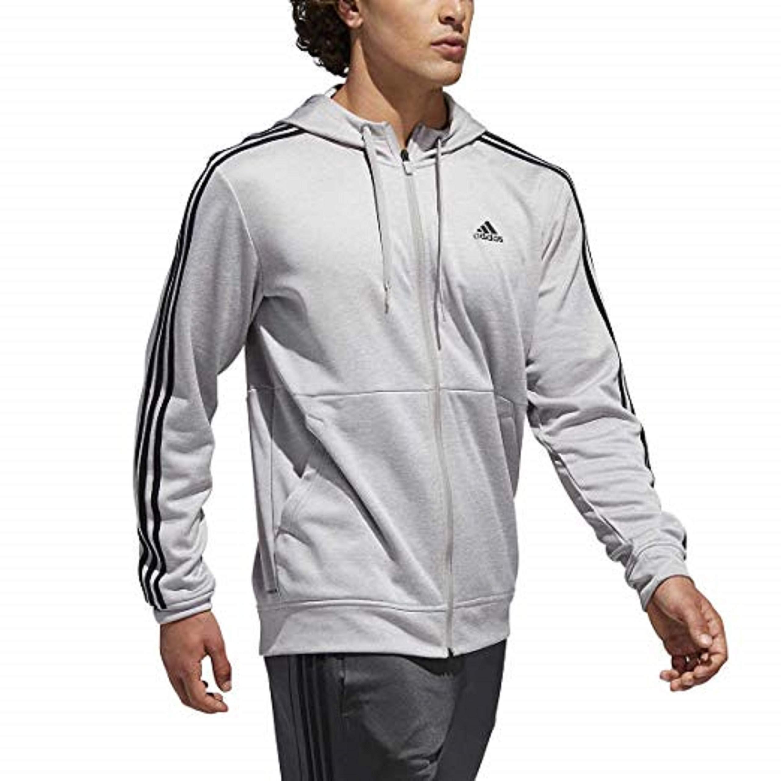 adidas Men's Essentials 3 Stripe Full Zip Fleece Hoodie (2XL, Flgryt)