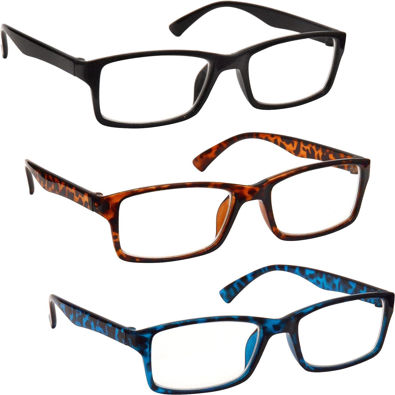 Uv Reader Gafas De Lectura Negro Marrón Azul Lectores Valor Pack 3 Hombres Mujeres Uvr3092Bk_Br_Bl +3,00 3 Unidades 88 g
