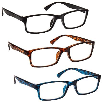 La Compañía Gafas De Lectura Negro / Marrón Carey / Azul Carey Lectores Valor Pack 3 Hombres Mujeres UVR3092BK_BR_BL Dioptria +1,00