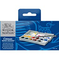 Winsor & Newton Cotman Water Colour Paint Sketchers' Pocket Box, Half Pans, 14-Pieces