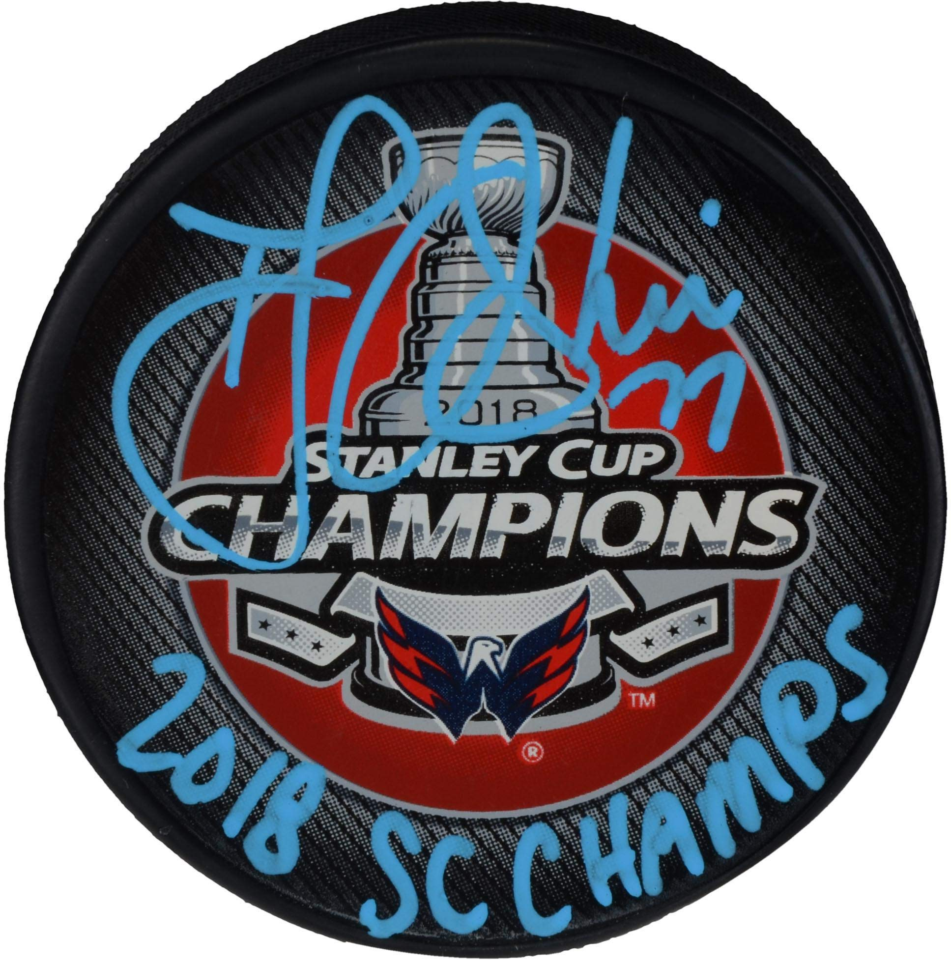 T.J. Oshie Washington Capitals 2018 Stanley Cup Champions Autographed Stanley Cup Champions Logo Hockey Puck with 2018 SC Champs Inscription Fanatics Authentic Certified