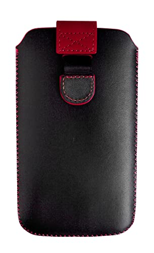 Amazon.com: Emartbuy Black/Red Premium PU Leather Slide in ...