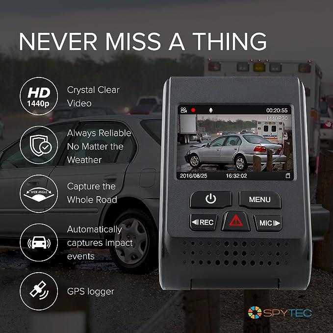 SpyTec A119 Version 2 Car Dash 60 FPS 1440p Camera with GPS Logger Mount  G-Sensor Wide Angle Lens and Low Light Recording