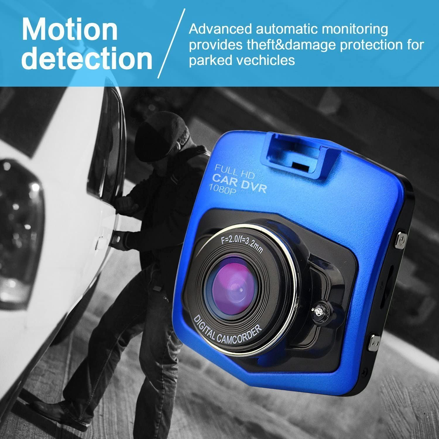 Blue HD 1080P Car DVR Parking Monitor Night Vision Dashboard Video Recorder On-Dash Drive with G-Sensor Motion Detection Noa Store Dash Cam Loop Recording -