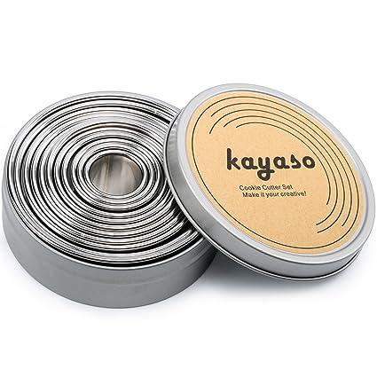 kayaso redondo moldes para galletas, acero inoxidable, Set de 11 pc