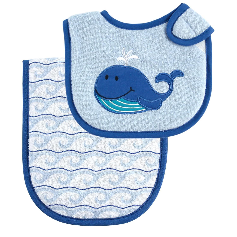 Amazon Com Luvable Friends Bib And Burp Cloth Set Blue Whale Baby