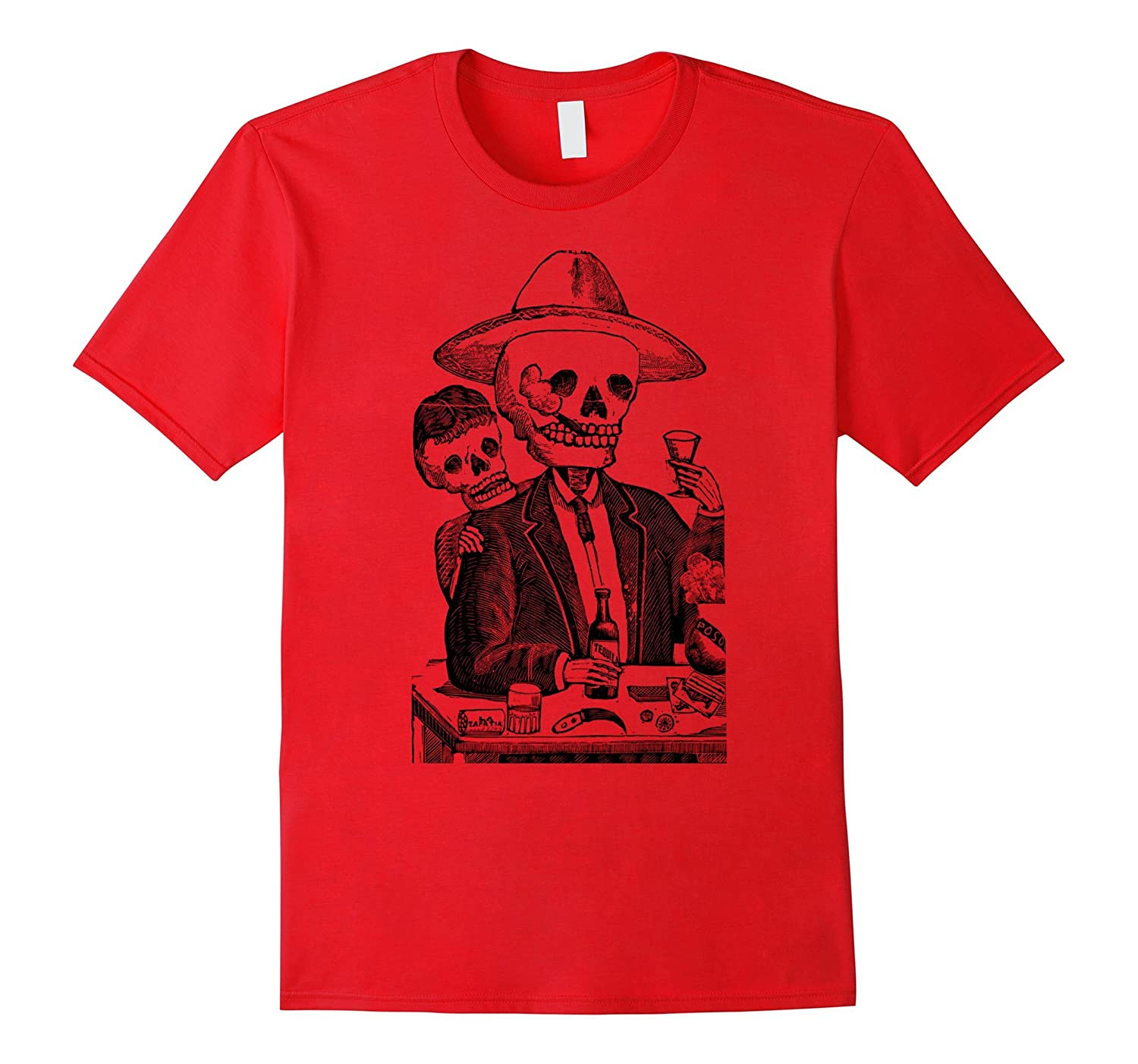 Big Texas Tequila Drinking Skeleton T-Shirt-TH
