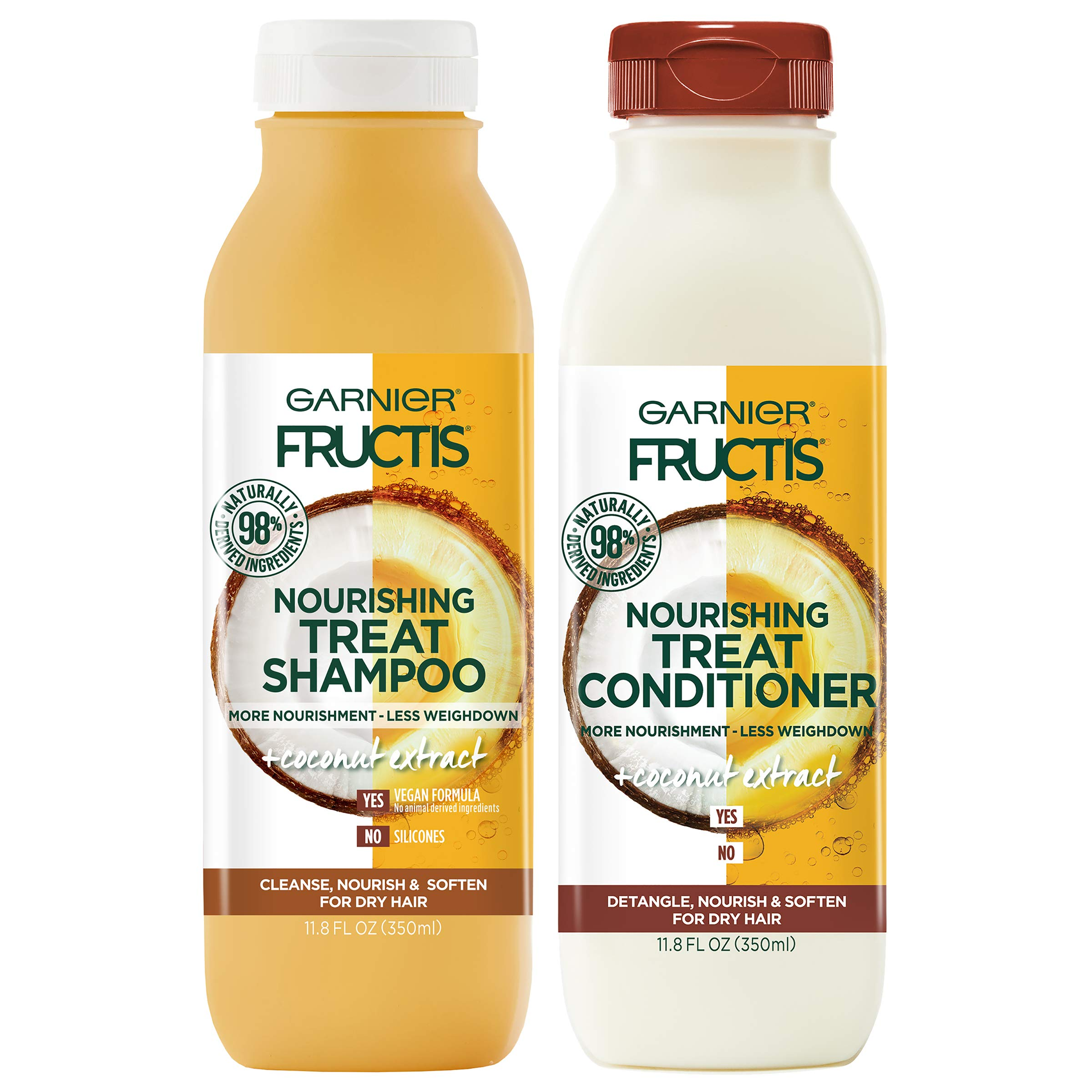 Garnier Fructis Nourishing Treat Shampoo and Conditioner, 98 Percent Naturally Derived Ingredients, Coconut, Nourish and Soften for Dry Hair, 11.8 oz ea
