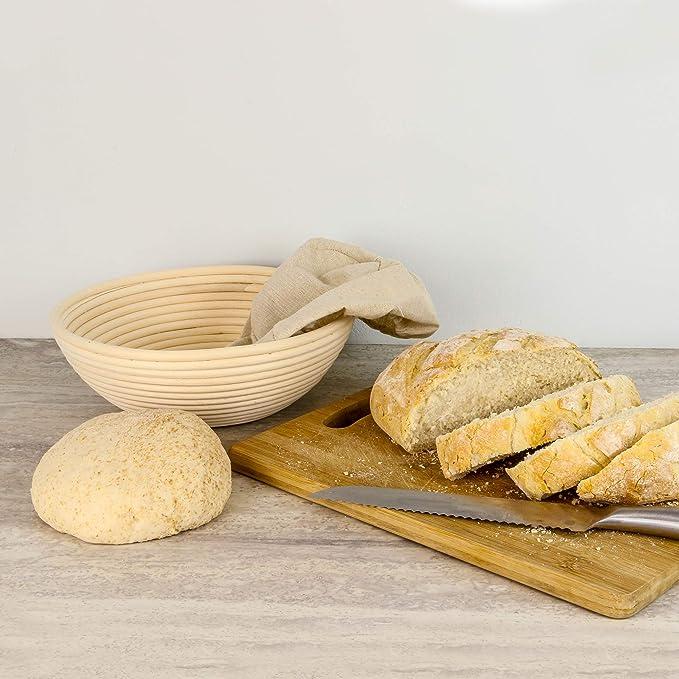 Canasta Panificadora Banneton | Canasta de masa para hornear Brotform | Masa De Ratán Rising Sourdough Set | Cepillo, forro y pan tenedor GRATIS | M&W ...