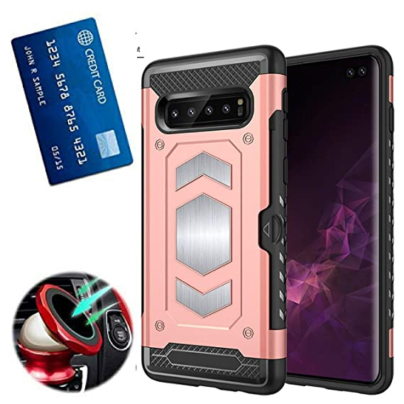 cb4e94c252 S10 Plus Case with Card Holder :S 10 Plus Phone Cases with Metal Back for