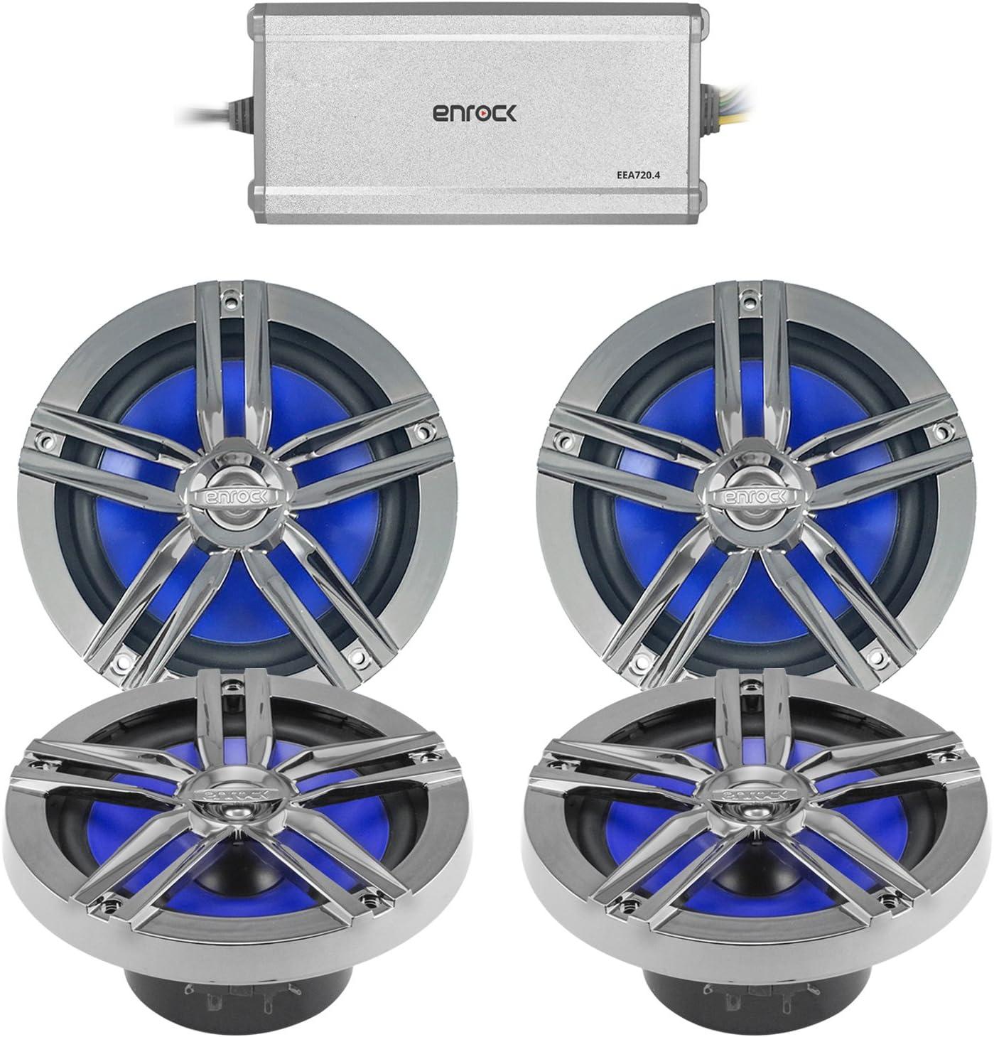 Enrock Marine 4-Channel Marine//Power Sports Amplifier Charcoal 2 Pairs 2 x Enrock Marine 180-Watts High-Performance 6.5 Water-Resistant Loudspeakers