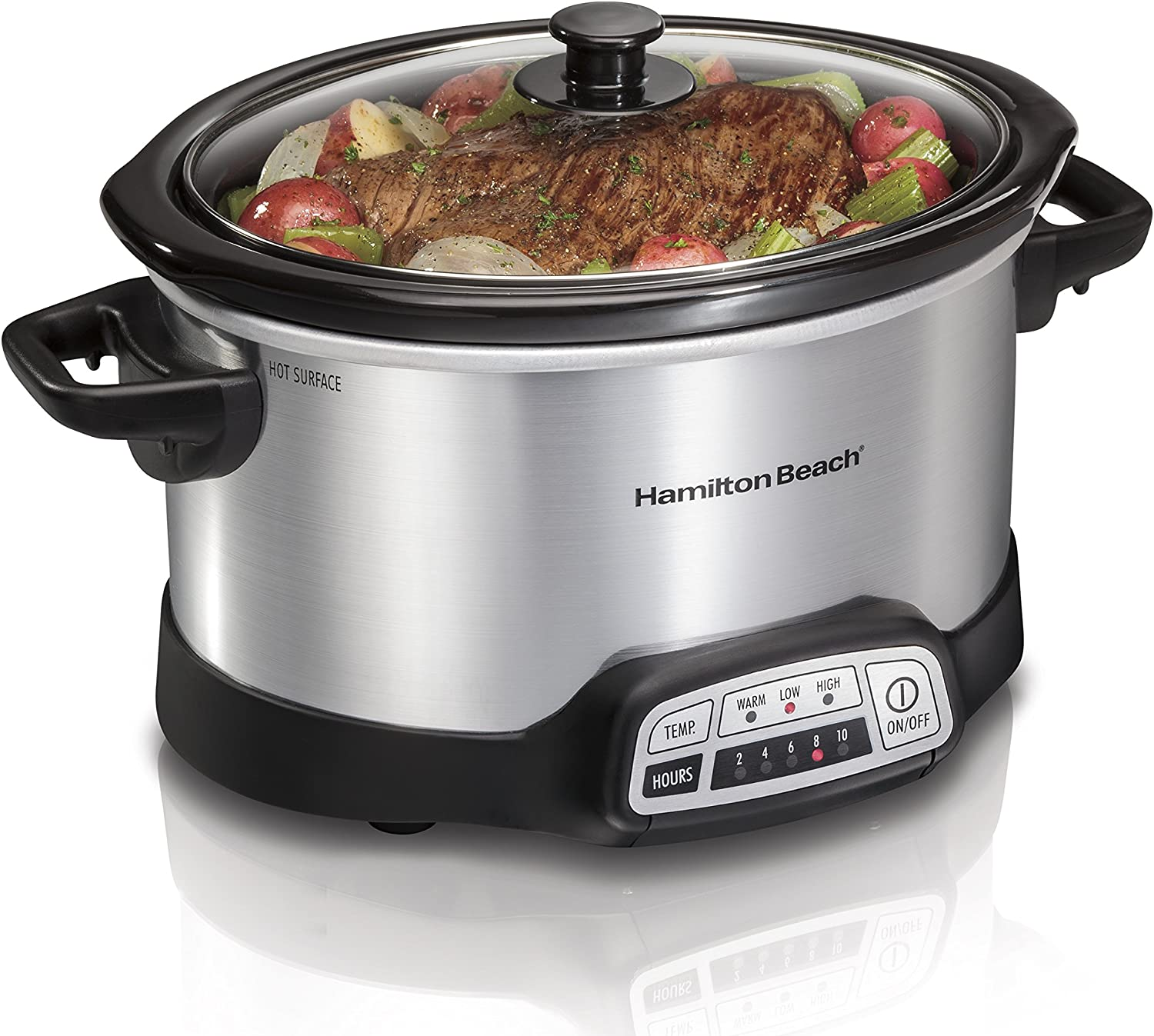 Hamilton Beach 4-Quart Programmable Slow Cooker With Dishwasher-Safe Crock and Lid, Silver (33443)