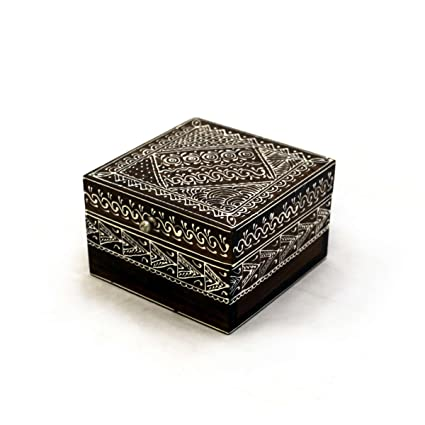 Caja de madera Cofre del Tesoro Caja Cofre del Tesoro pintadas a mano caja acuosa