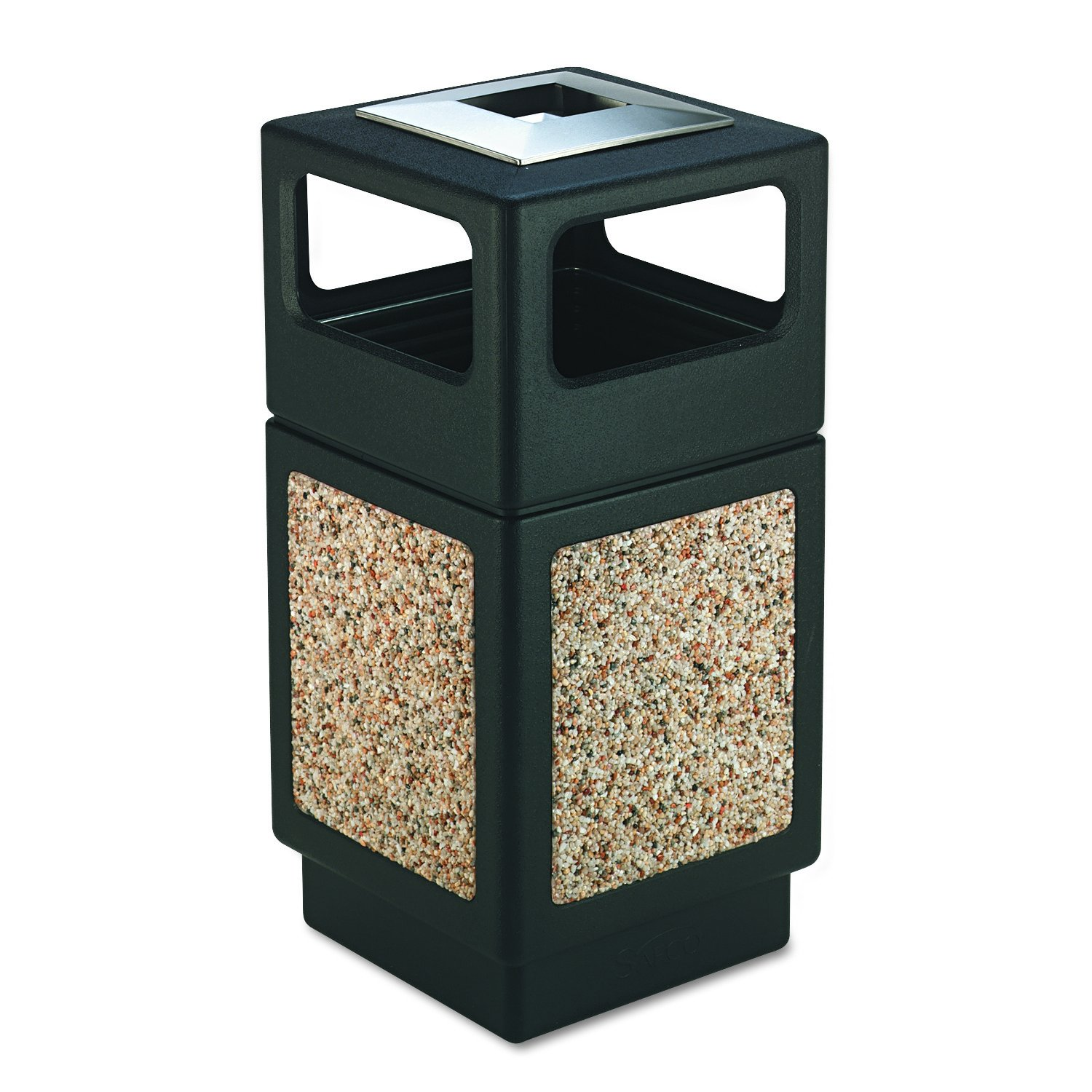 Safco Products 9473NC Canmeleon Aggregate Panel Trash Can, Ash Urn/Side Open, 38-Gallon, Black