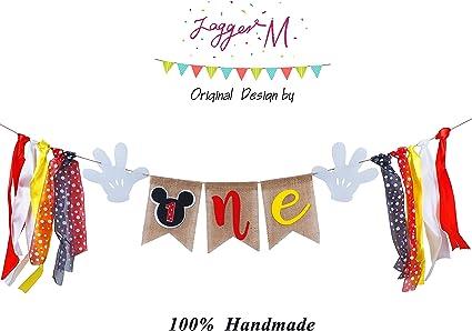 Amazon.com: Mickey Mouse 1st Birthday Banner, hecho a mano ...