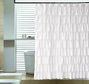"Ameritex Ruffle Shower Curtain Fabric | Soft Polyester, Decorative Farmhouse Bathroom Accessories, Elegant, Classic | Great for Showers & Bathtubs |Large Size, White 72"" x 72"""